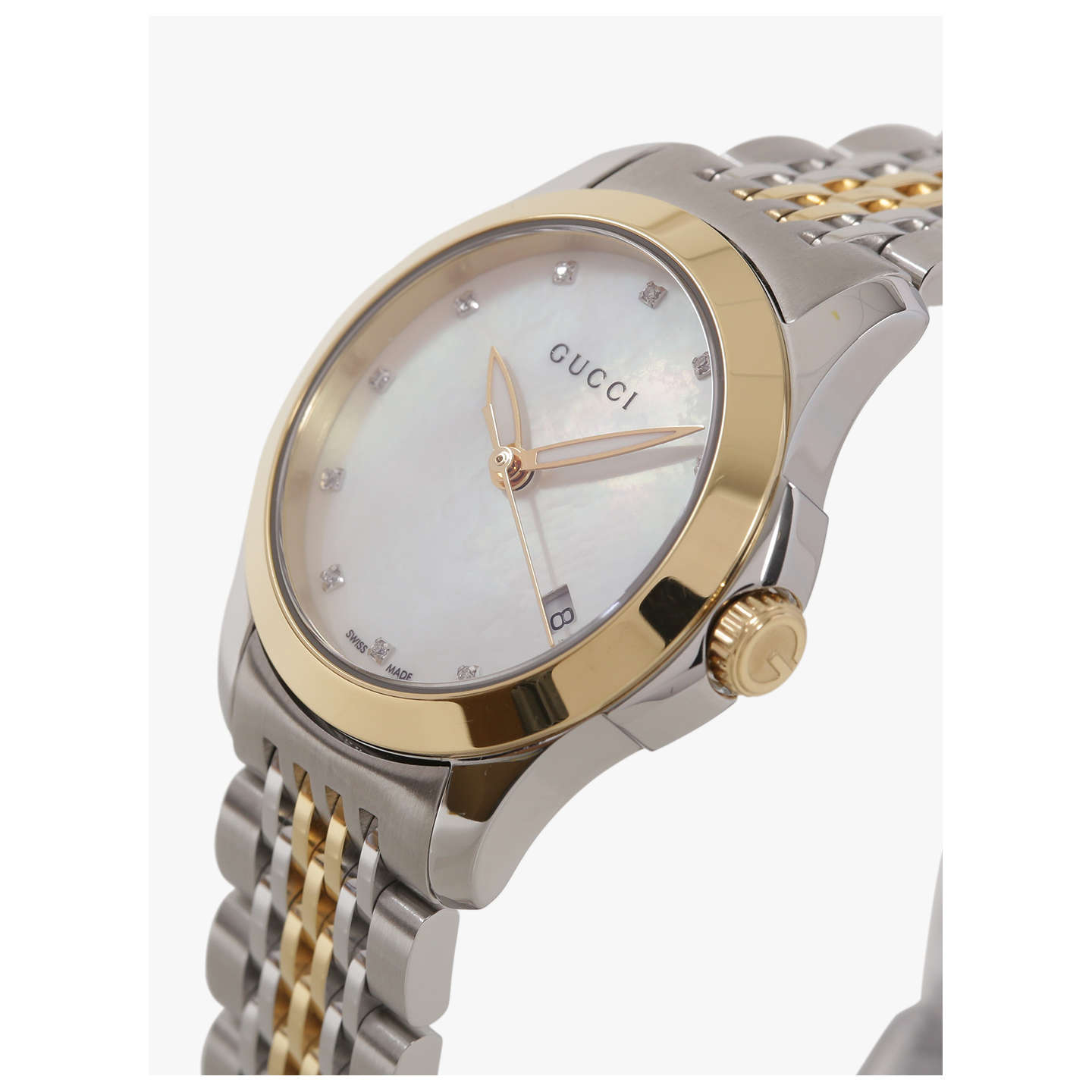 BuyGucci YA126513 Women's G-Timeless Mother of Pearl Diamond Two Tone Bracelet Strap Watch, Silver/Gold Online at johnlewis.com