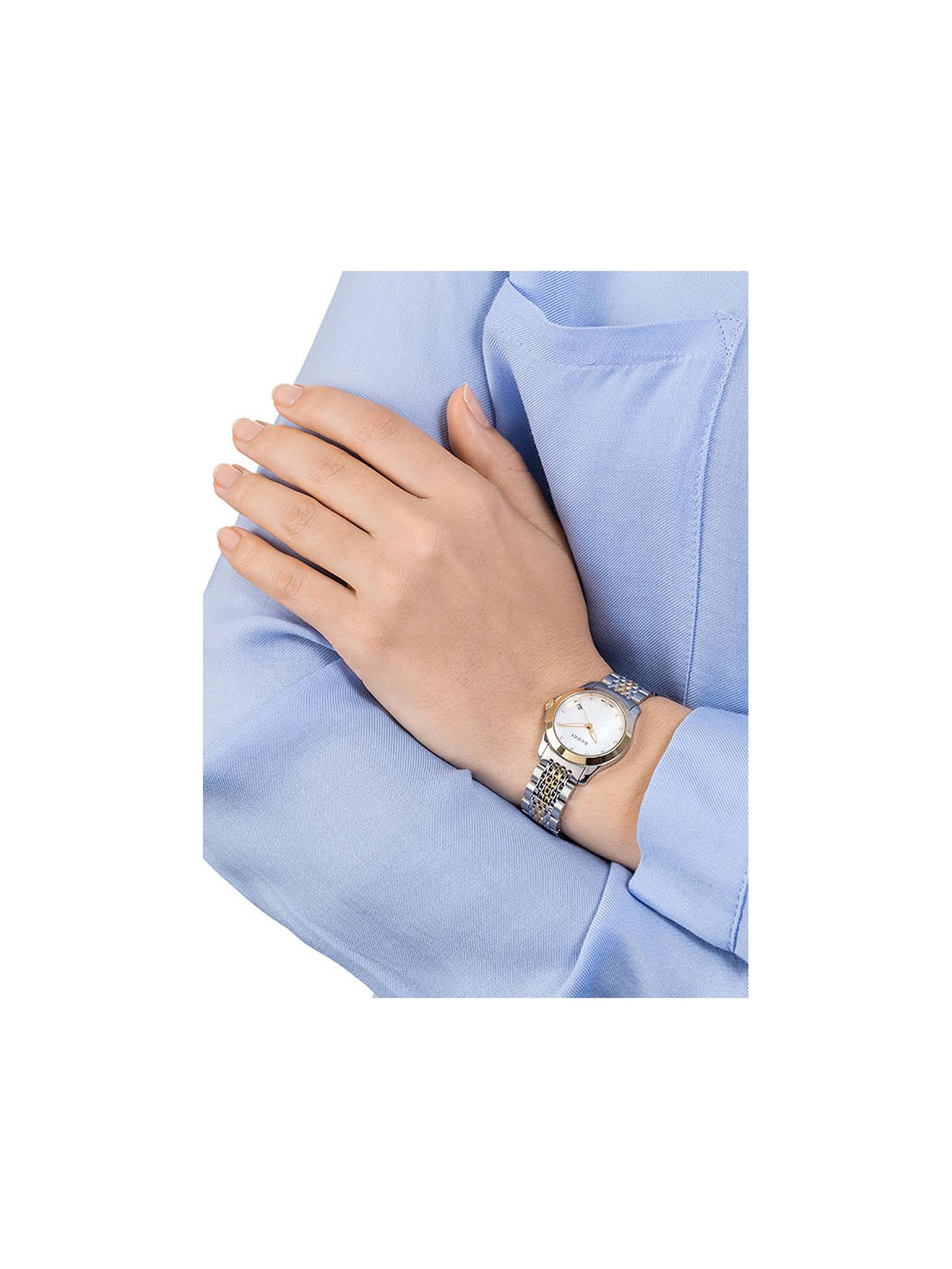 34eadc87bcf ... Buy Gucci YA126513 Women s G-Timeless Mother of Pearl Diamond Two Tone  Bracelet Strap Watch