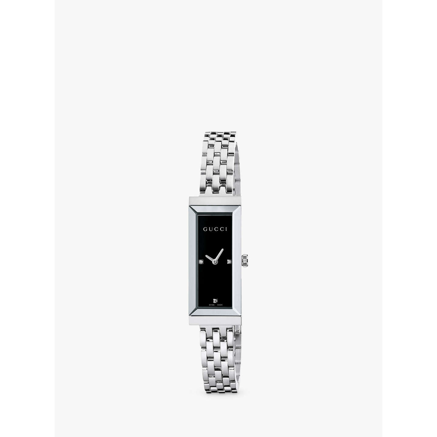 BuyGucci YA127504 Women's G-Frame Rectangular Diamond Set Dial Stainless Steel Bangle Strap Watch, Silver/Black Online at johnlewis.com
