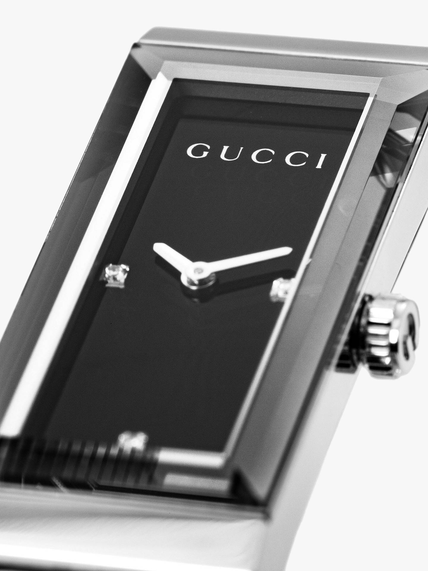 BuyGucci YA127504 Women's G-Frame Rectangular Diamond Set Dial Bangle Strap Watch, Silver/Black Online at johnlewis.com