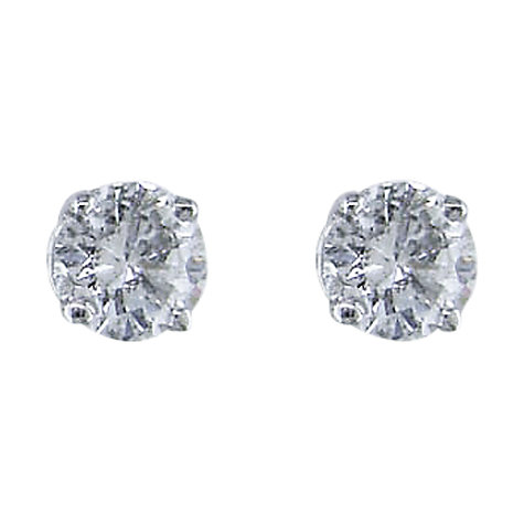 Buy EWA 18ct White Gold 0.80ct Diamond 4 Claw Stud Earrings, White Gold Online at johnlewis.com