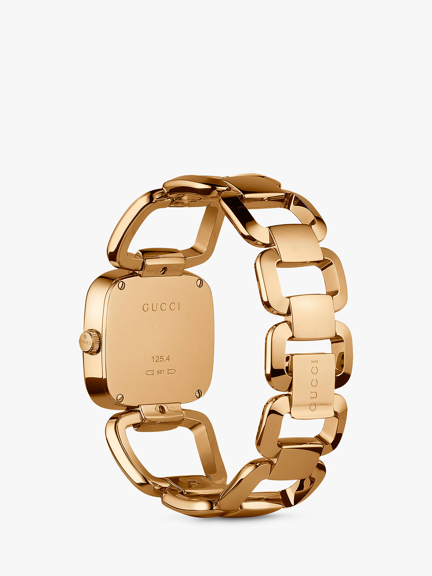Buy Gucci YA125408 Women's G-Frame Bracelet Strap Watch, Gold/Brown Online at johnlewis.com