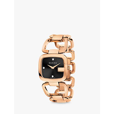 Gucci YA125409 Women's I-Gucci Diamond Dial Bracelet Strap Watch, Rose Gold/Black