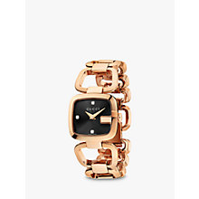 Buy Gucci YA125512 Womens G-Gucci Diamond Open Bracelet Strap Watch, Rose Gold/Black Online at johnlewis.com