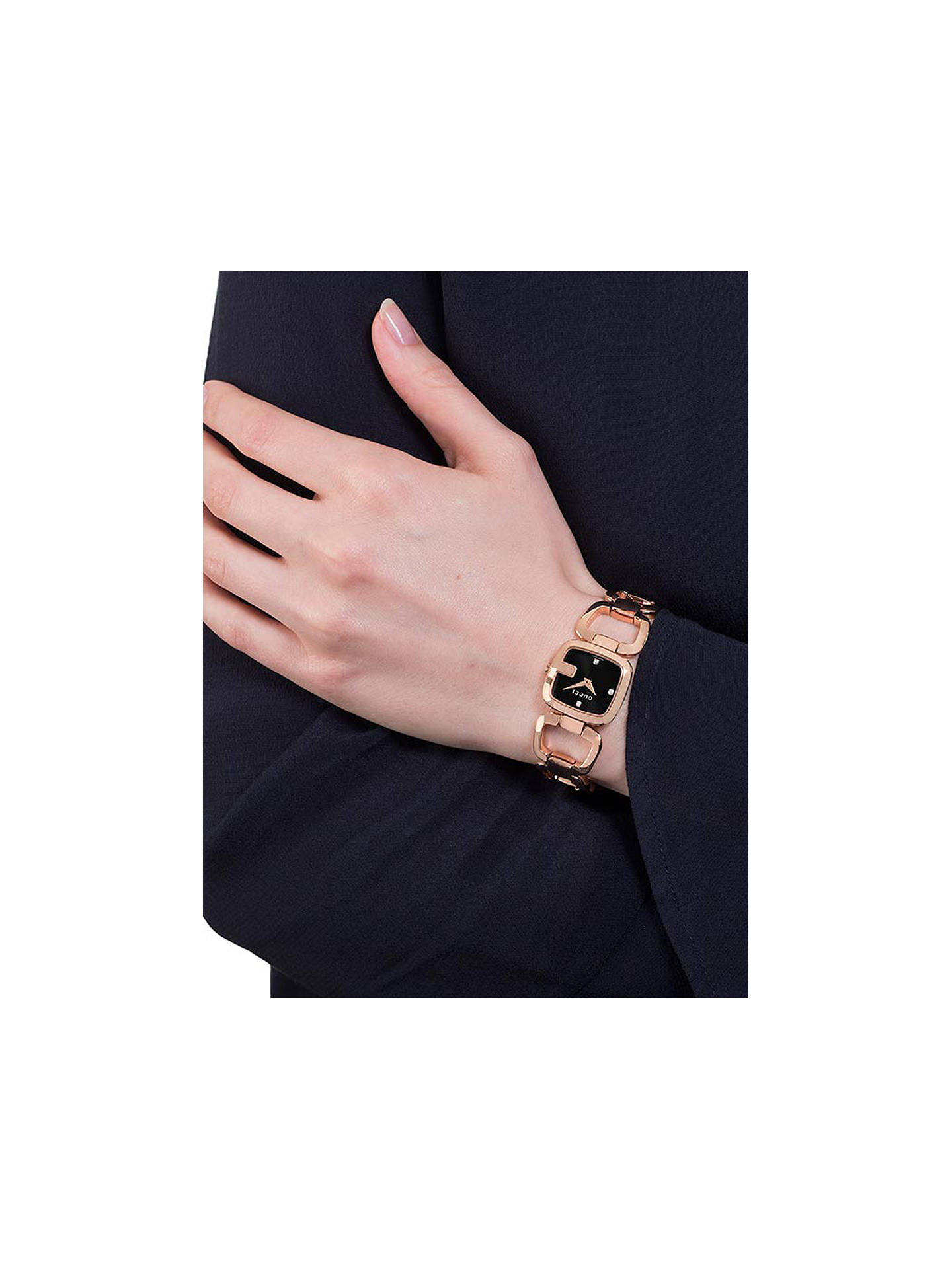 f44c7643b73 ... Buy Gucci YA125512 Womens G-Gucci Diamond Open Bracelet Strap Watch