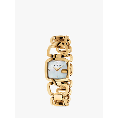 Gucci YA125513 Womens G-Gucci Diamond Mother of Pearl Dial Open Bracelet Strap Watch, Rose Gold/White