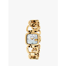 Buy Gucci YA125513 Womens G-Gucci Diamond Mother of Pearl Dial Open Bracelet Strap Watch, Rose Gold/White Online at johnlewis.com