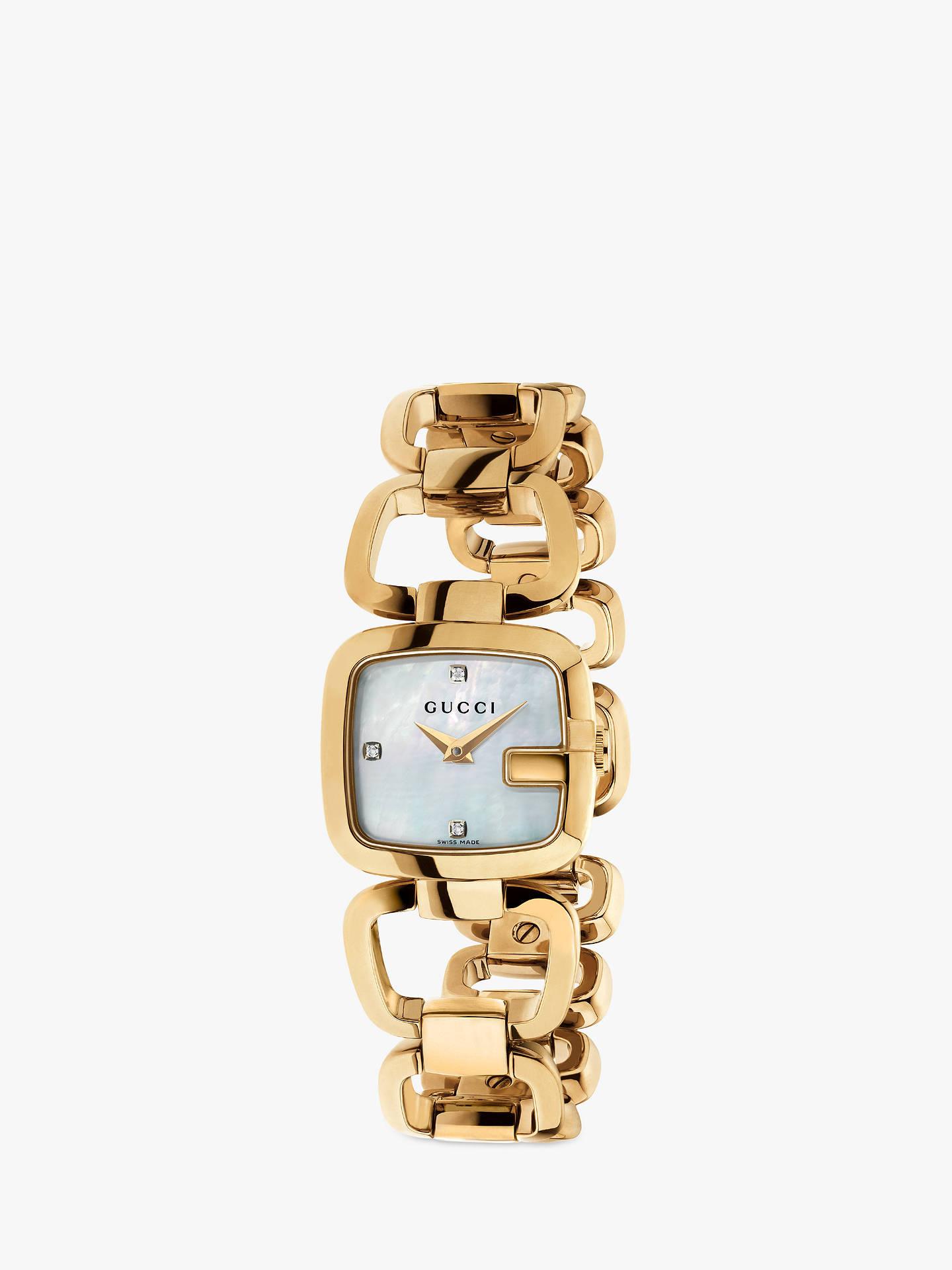 f7bd08c323c Buy Gucci YA125513 Womens G-Gucci Diamond Mother of Pearl Dial Open  Bracelet Strap Watch ...