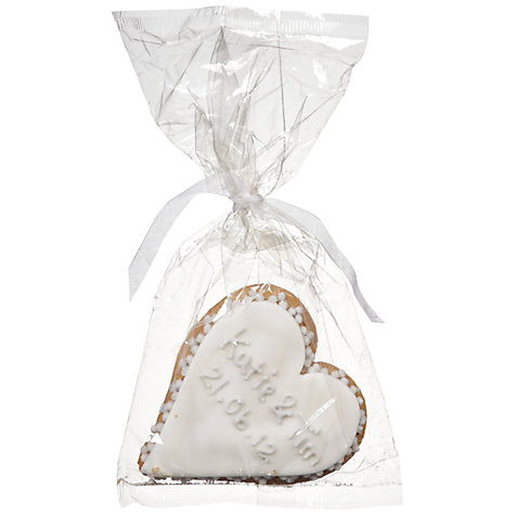 Buy Image on Food Personalised Wedding Heart Gingerbread, Silver, Pack of 24 Online at johnlewis.com