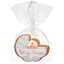 Buy Image on Food Personalised Baby Pram Gingerbread, Silver, Pack of 24 Online at johnlewis.com