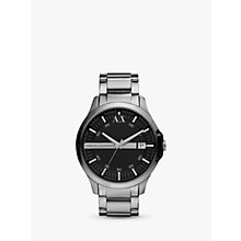 Buy Armani Exchange AX2103 Men's Date Bracelet Strap Watch, Silver/Black Online at johnlewis.com