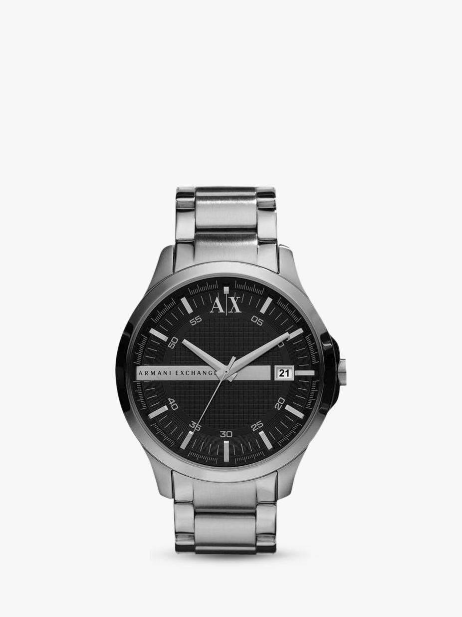 Armani Exchange Armani Exchange Men's Date Bracelet Strap Watch, Silver/Black AX2103