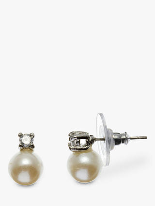 Buy John Lewis & Partners Faux Pearl and Square Diamanté Stud Earrings, Silver/White Online at johnlewis.com