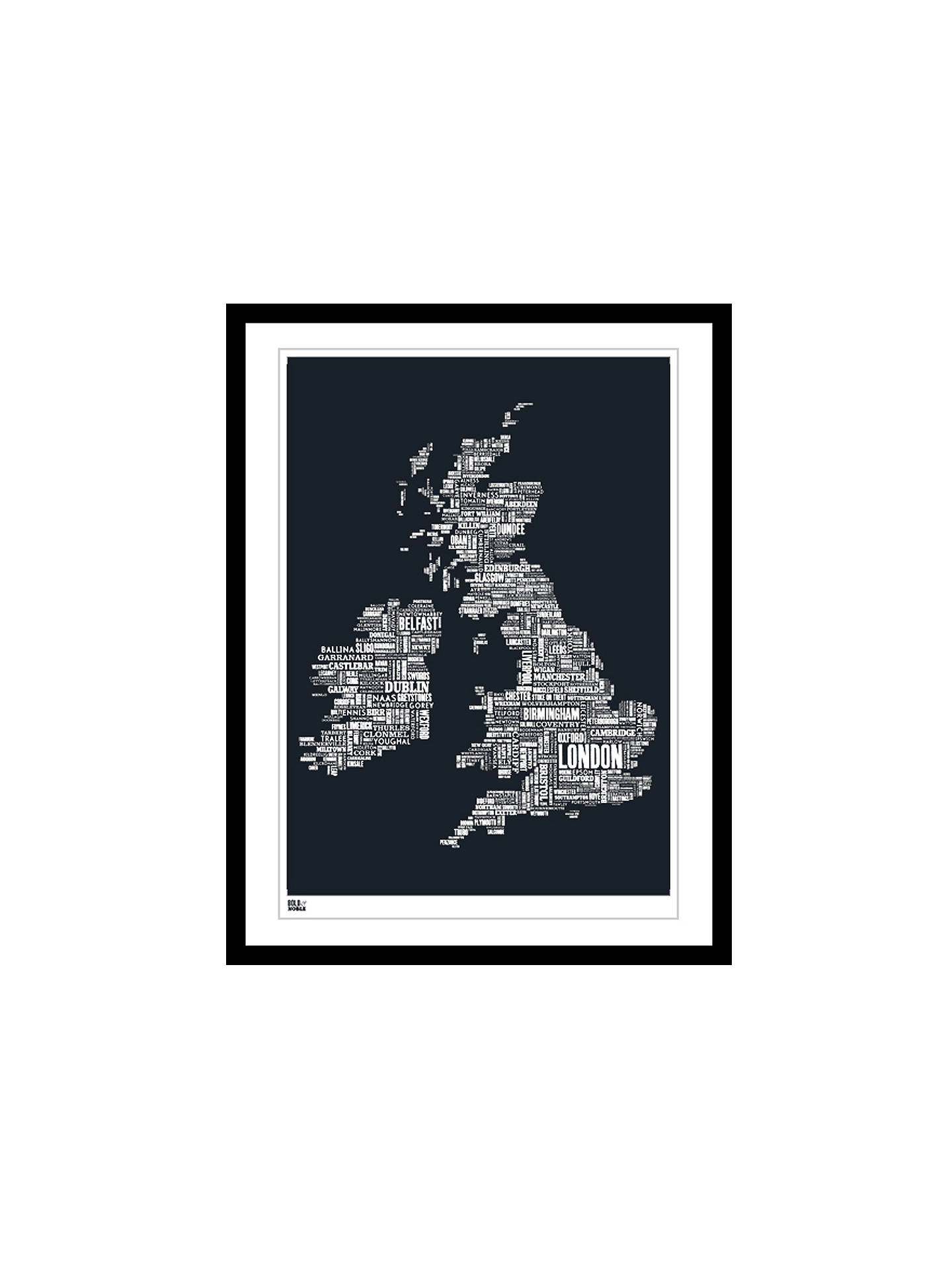 Buy Bold & Noble British Isles Map Framed Silkscreen Print, 63 x 83cm Online at johnlewis.com