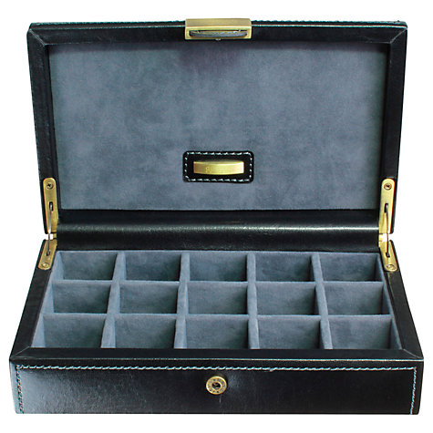 Buy Dulwich Designs Heritage Cufflink Box, Leather, Black Online at johnlewis.com