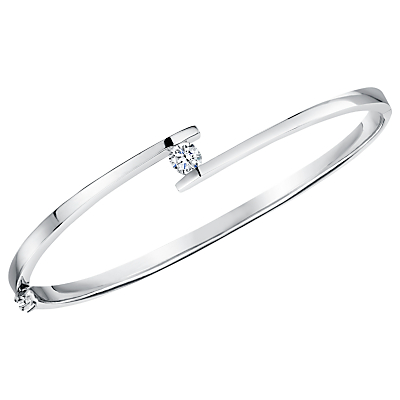 Jools by Jenny Brown Parallel Lines Cubic Zirconia Bangle, Silver