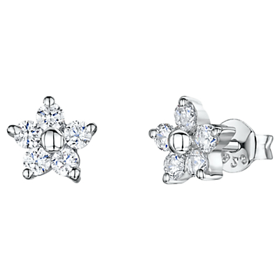 Product photo of Jools by jenny brown cubic zirconia flower stud earrings silver