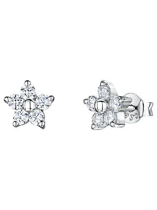 Jools by Jenny Brown Cubic Zirconia Flower Stud Earrings, Silver