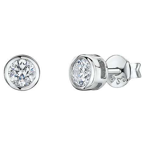 Buy Jools by Jenny Brown Round Cubic Zirconia Stud Earrings, Silver Online at johnlewis.com