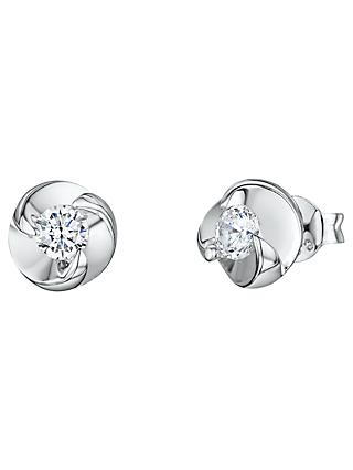 Jenny Brown Twist Cubic Zirconia Stud Earrings, Silver