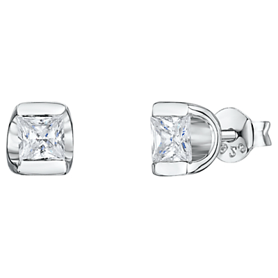 Product photo of Jools by jenny brown cubic zirconia cupped stud earrings silver
