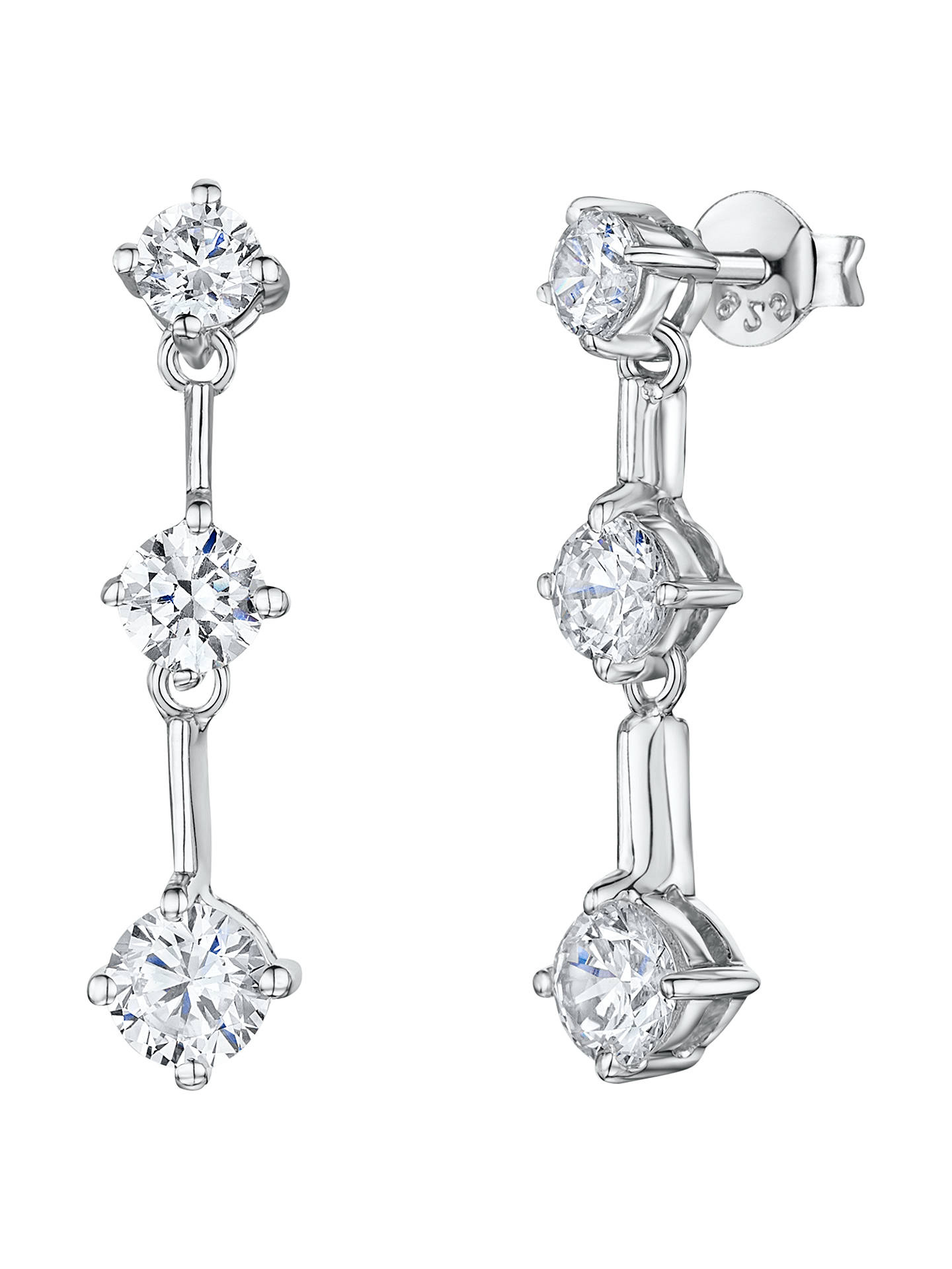 Jools By Jenny Brown Cubic Zirconia 3 Stone Drop Earrings Silver Online At Johnlewis