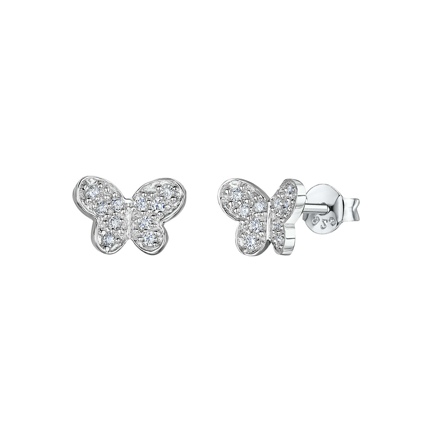 orecchini con zircons d rhodium rose with stones en plated bianco pietre earrings negozio farfalla stud pave butterfly or argento in zirconi luxanty silver white gold