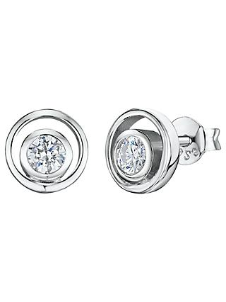 Jools by Jenny Brown Cubic Zirconia Open Round Stud Earrings, Silver
