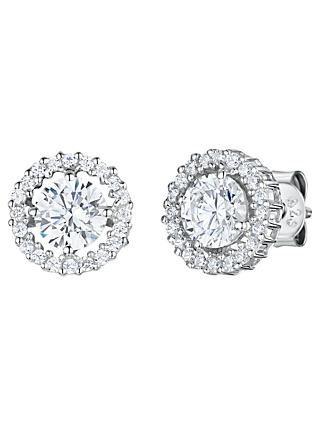 Jools by Jenny Brown Cubic Zirconia Double Diamonte Circle Stud Earrings, Silver