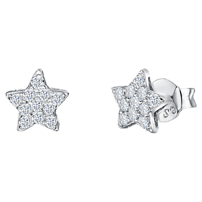 Product photo of Jools by jenny brown cubic zirconia star stud earrings silver