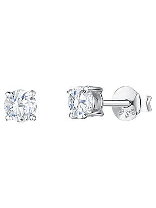 Jools by Jenny Brown Cubic Zirconia Round Stud Earrings, Silver