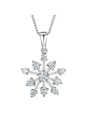 Jools by Jenny Brown Cubic Zirconia Snowflake Pendant Necklace, Silver