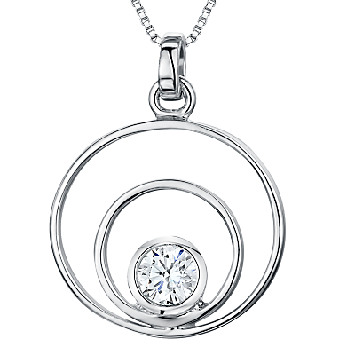 Image of Jools by Jenny Brown Cubic Zirconia 2 Oval Pendant Necklace, Silver