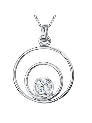 Jools by Jenny Brown Cubic Zirconia 2 Oval Pendant Necklace, Silver
