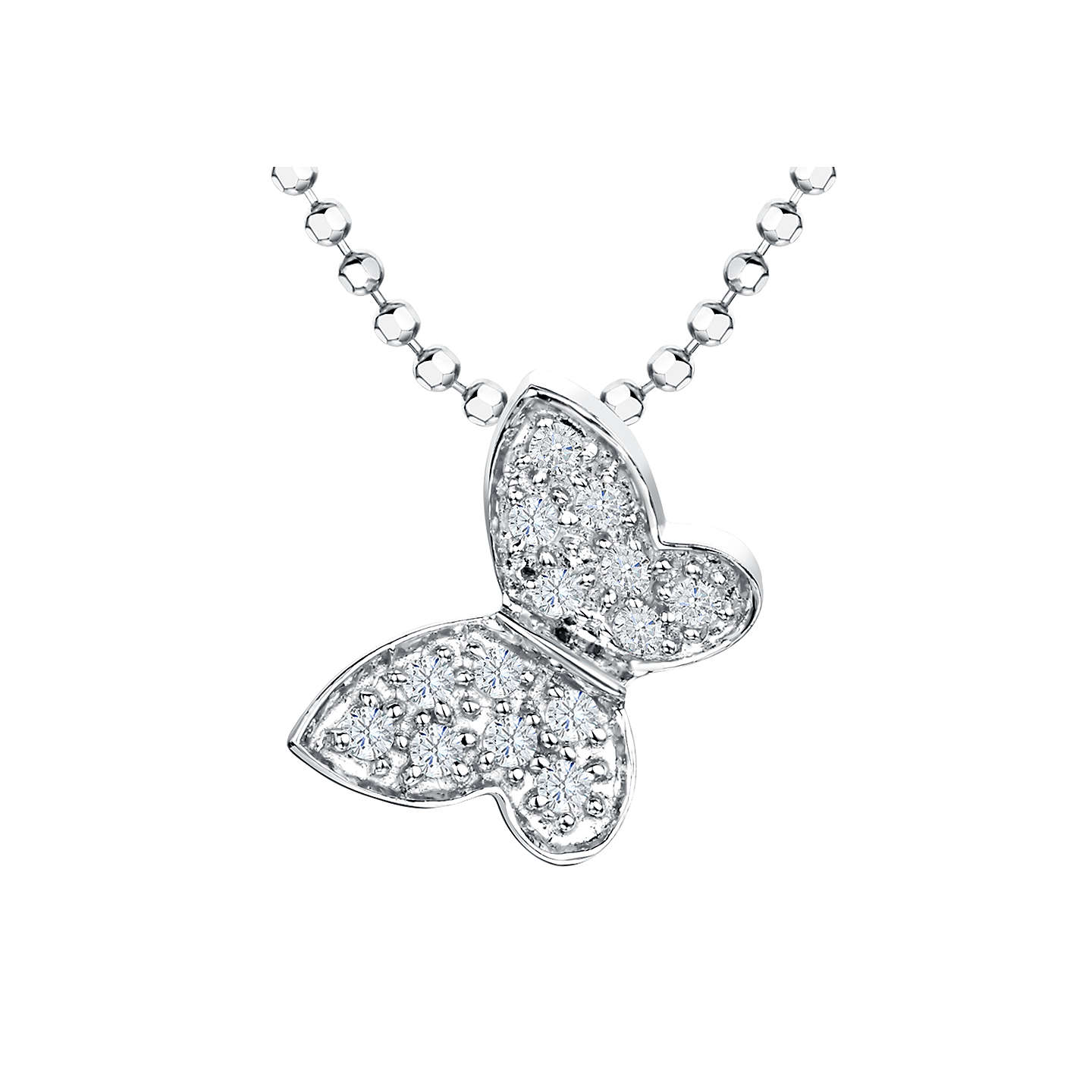 BuyJools by Jenny Brown Cubic Zirconia Butterfly Pendant Necklace, Silver Online at johnlewis.com
