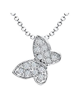 Jools by Jenny Brown Cubic Zirconia Butterfly Pendant Necklace, Silver
