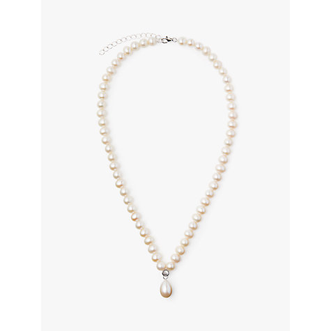 Buy Lido Pearls Sterling Silver Freshwater Pearls Cubic Zirconia Pendant Necklace, Cream Online at johnlewis.com