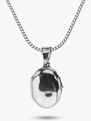 Nina B Small Sterling Silver Oval Locket Pendant Necklace, Silver