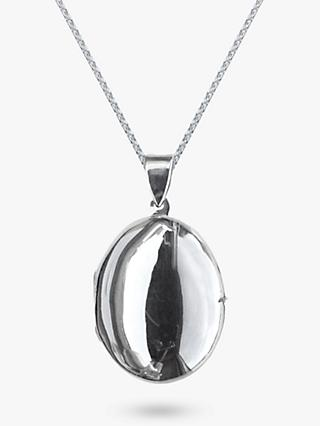 Nina B Medium Sterling Silver Oval Pendant Locket Necklace, Silver