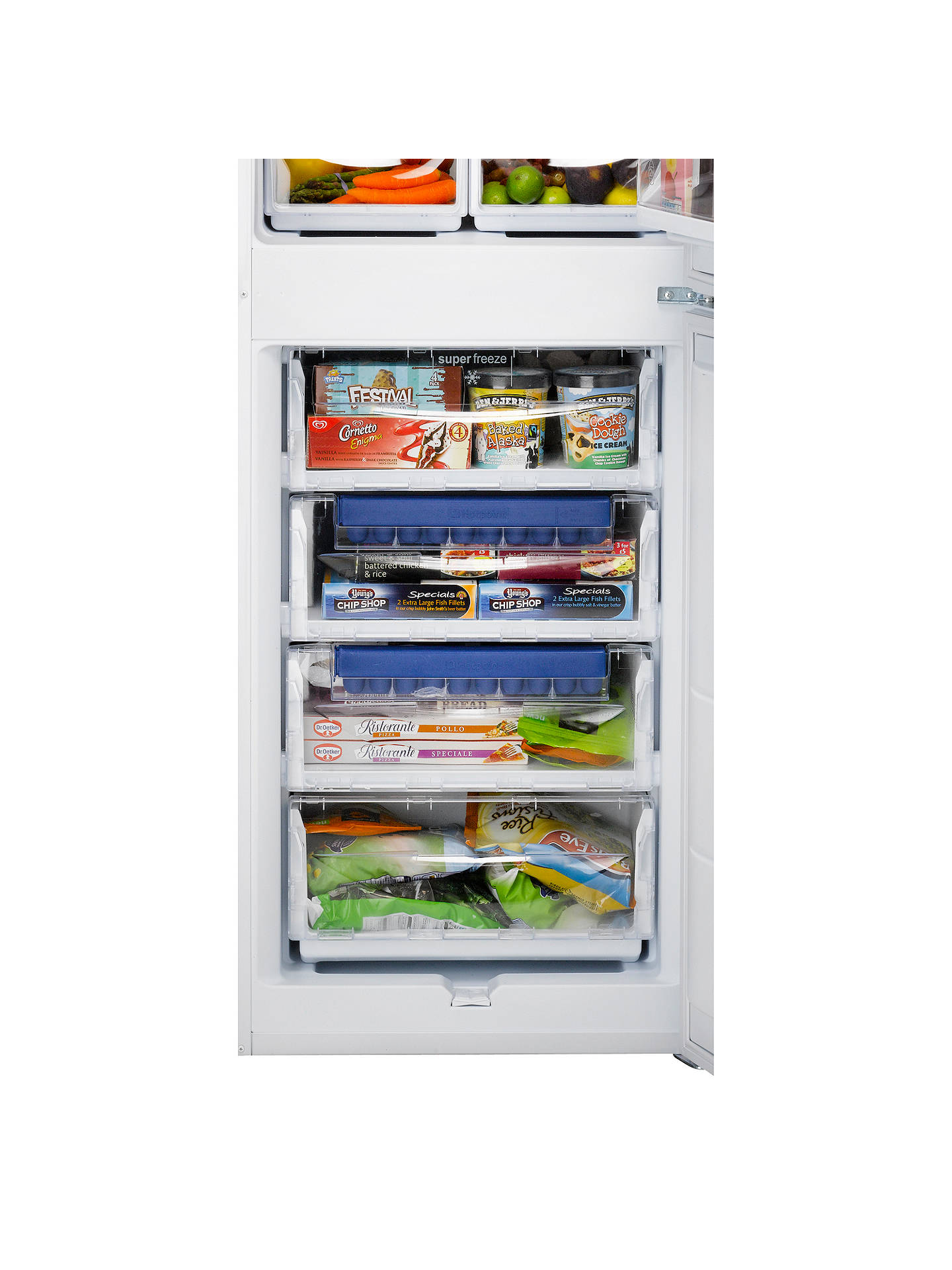 BuyHotpoint RFAA52P Freestanding Fridge Freezer, A+ Energy Rating, 55cm Wide, White Online at johnlewis.com
