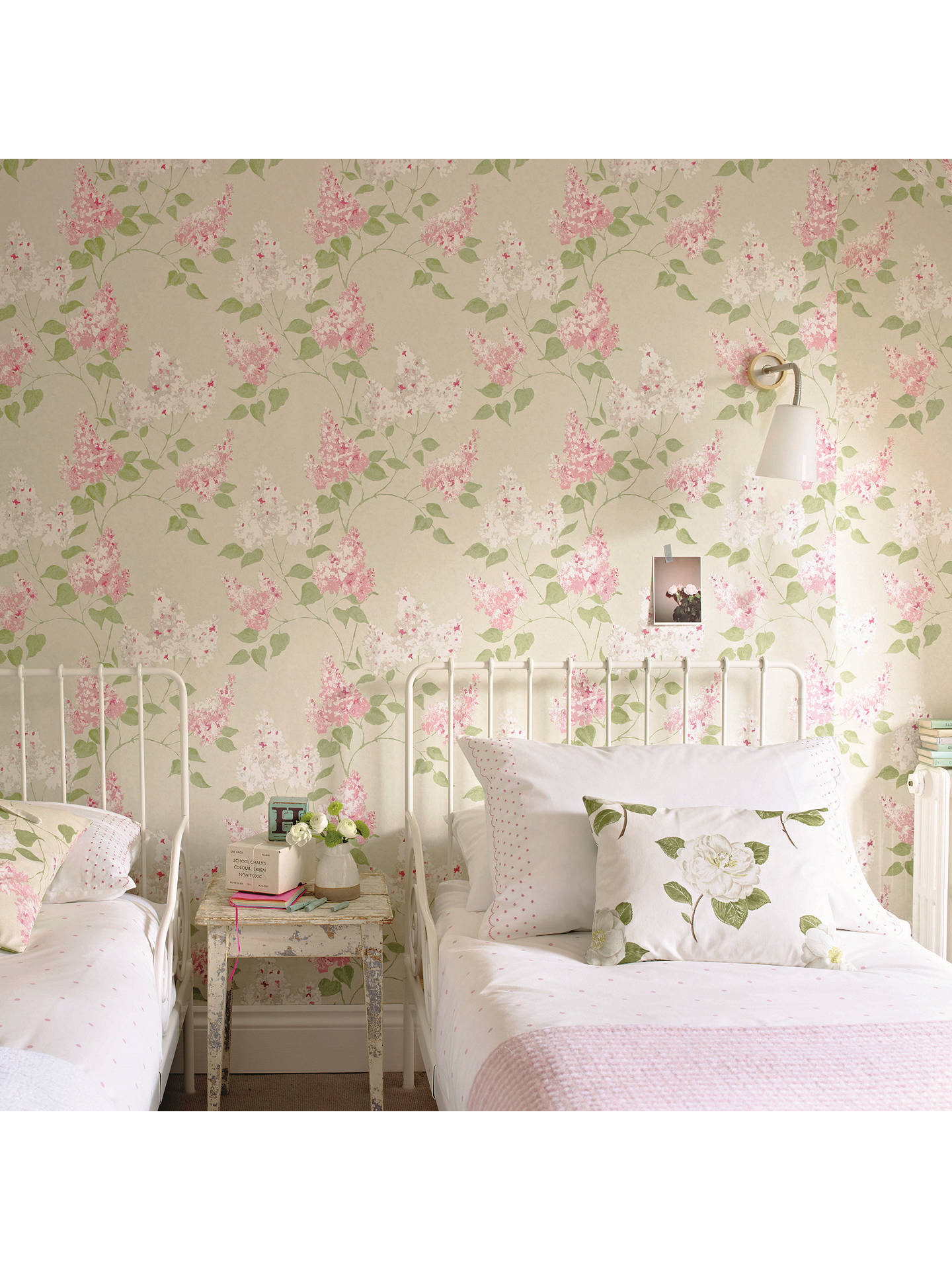 BuySanderson Lilacs Wallpaper, Pink/Stone, 211985 Online at johnlewis.com