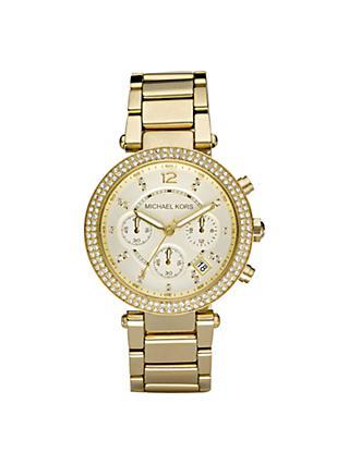 Michael Kors Women S Parker Chronograph Date Bracelet Strap Watch