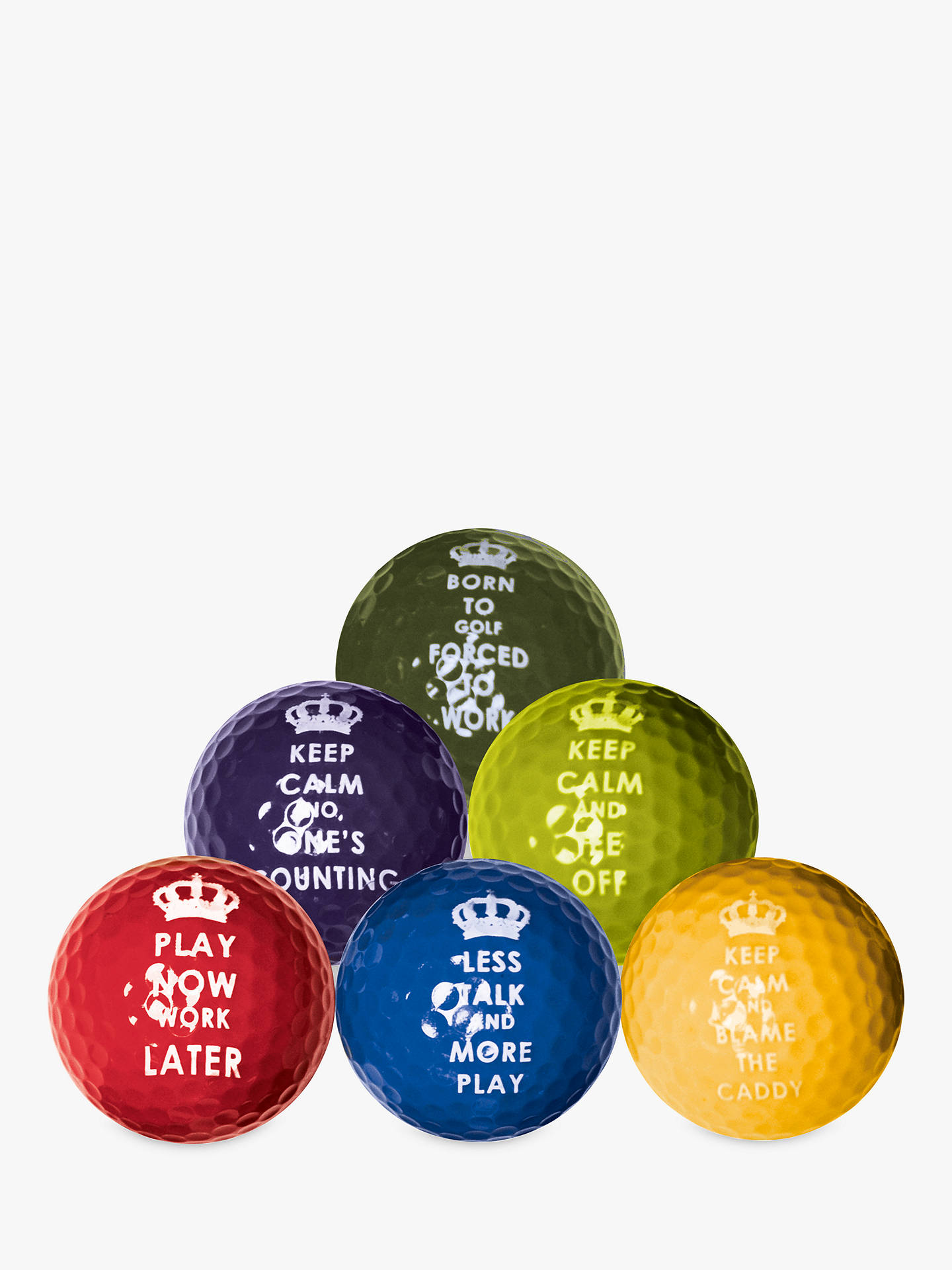 BuyLongridge Keep Calm Golf Balls, Pack of 6 Online at johnlewis.com