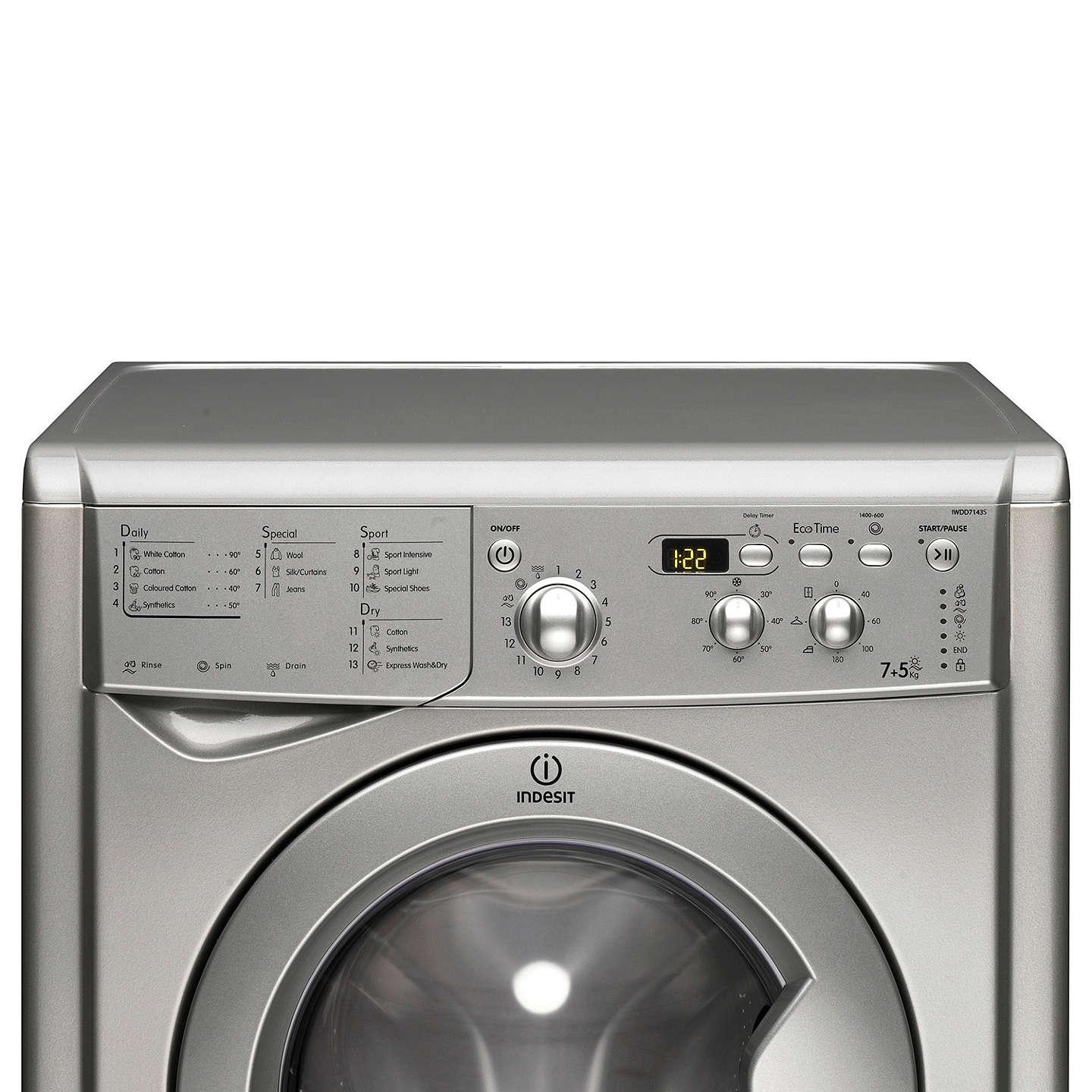 BuyIndesit IWDD7143S Ecotime Washer Dryer, 7kg Wash/5kg Dry Load, B Energy Rating, 1400rpm Spin, Silver Online at johnlewis.com