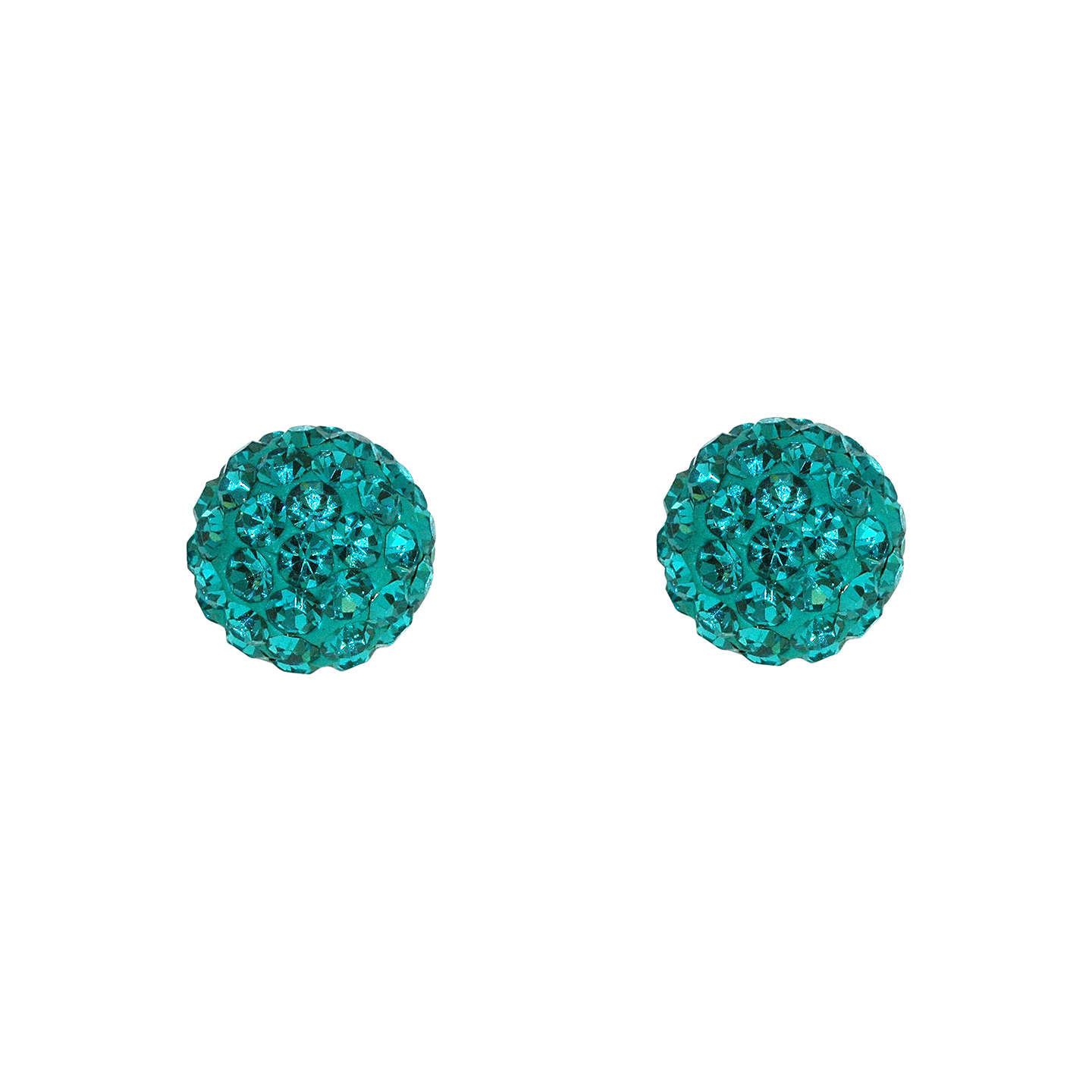 BuyJou Jou Crystal Pavé Round Ball Stud Earrings, Turquoise Online at johnlewis.com