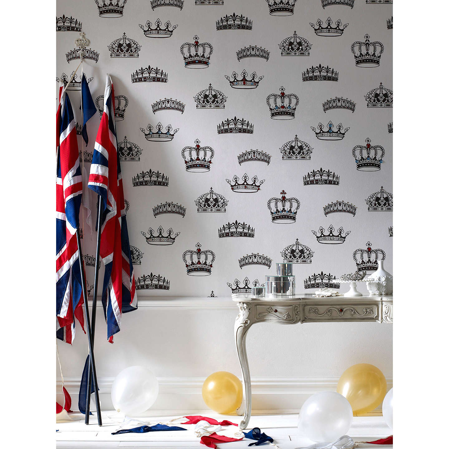 BuyGraham & Brown Crowns & Coronets Wallpaper, Black/White Online at johnlewis.com