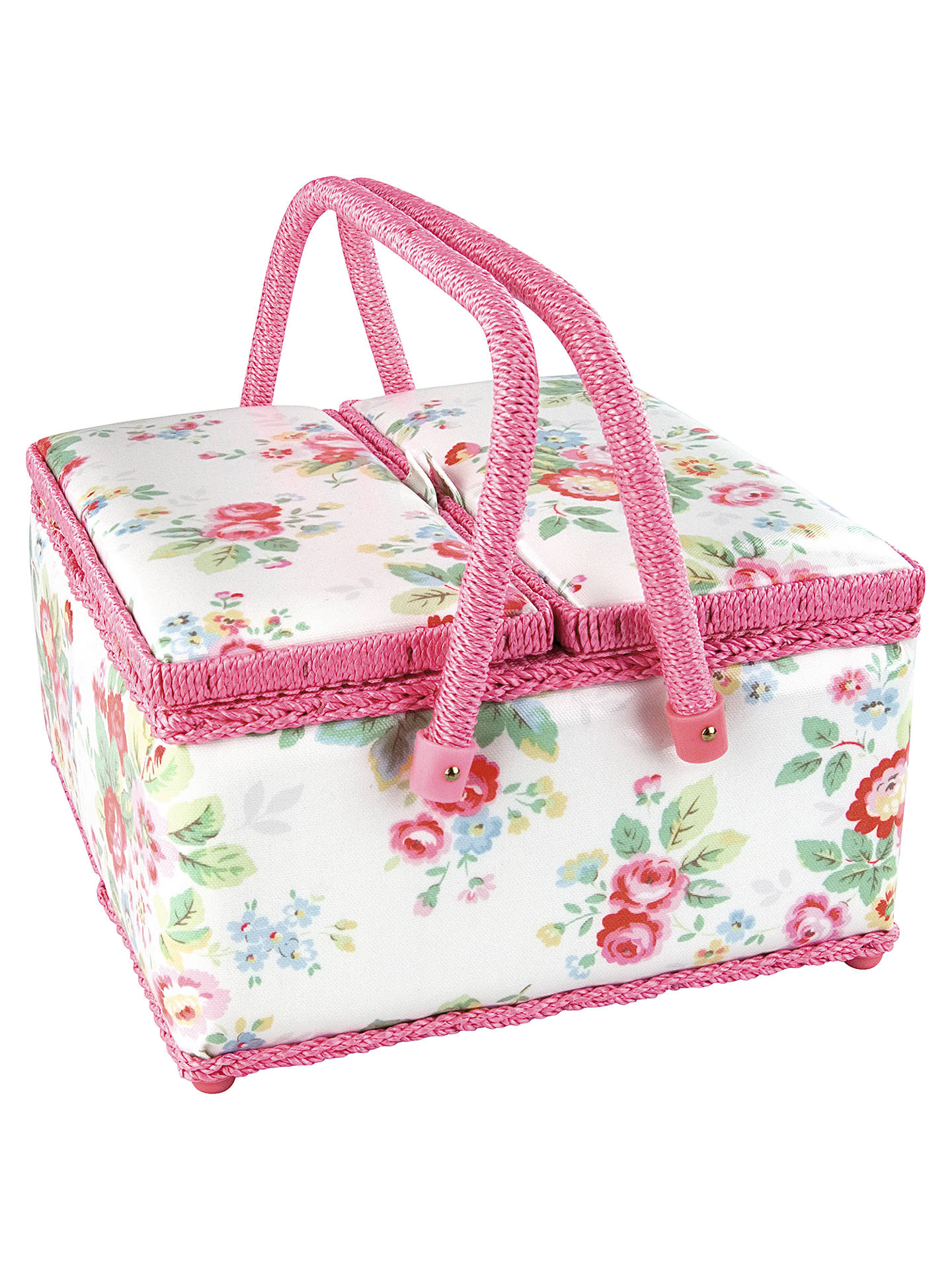Cath Kidston Trailing Flowers Sewing Basket Twin Lid At