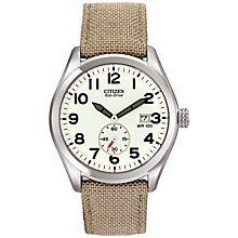 Buy Citizen BV1080-18A Men's Sport Eco-Drive Fabric Strap Watch, Khaki/White Online at johnlewis.com