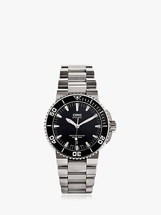 Oris 01 733 7653 4154-07 8 26 01PEB Men's Aquis Date Bracelet Strap Watch, Silver/Black