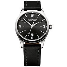 Buy Victorinox 241474 Men's Alliance Leather Strap Watch, Black Online at johnlewis.com